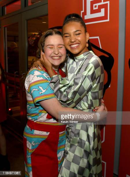 """Julia Lester and Sofia Wylie pose at the after party for the premiere of Disney+'s """"High School Musical: The Musical: The Series"""" at the Walt Disney..."""