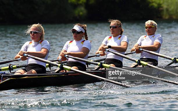 Julia Lier Lisa Schmidla Nina Wengert and Peggy Waleska of Germany row in the women's quadruple sculls during Day 1 of the 2012 Samsung World Rowing...