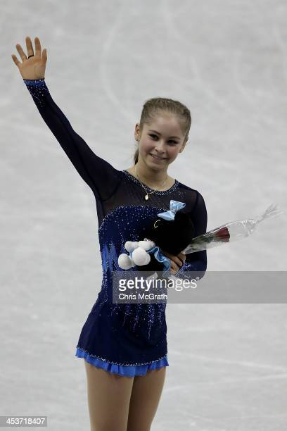 Julia Lipnitskaia of Russia celebrates after her routine in the Ladies Short Program during day one of the ISU Grand Prix of Figure Skating Final...