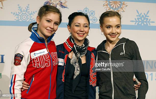 Julia Lipnitskaia of Russia Elizaveta Tuktamysheva of Russia and Elena Radionova of Russia pose together after the press conference following the...