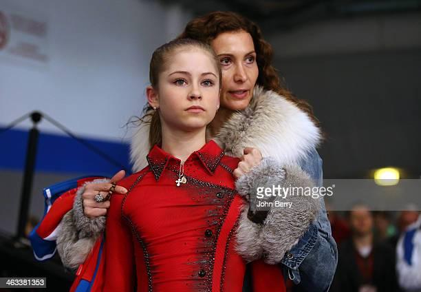 Julia Lipnitskaia of Russia gets some advice from her coach Eteri Tutberidze prior to the Ladies Free Skating event of the ISU European Figure...