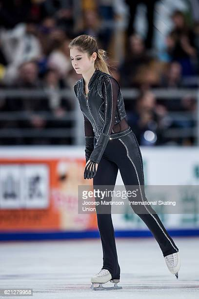 Julia Lipnitskaia of Russia reacts after discontinuing her program due to injury during Ladies Free Skating on day two of the Rostelecom Cup ISU...