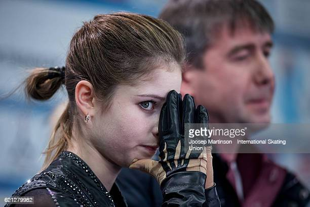 Julia Lipnitskaia of Russia reacts at kiss and cry after discontinuing her program due to injury during Ladies Free Skating on day two of the...
