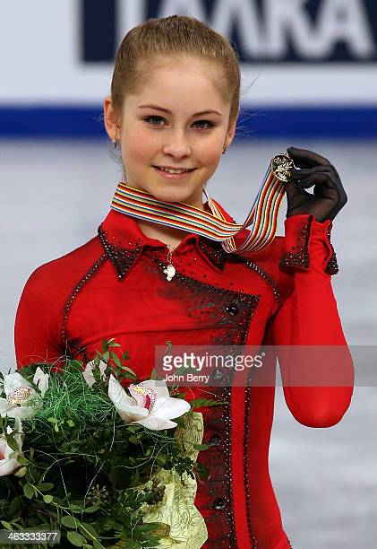 Julia Lipnitskaia of Russia wins the gold medal in the Ladies event of the ISU European Figure Skating Championships 2014 held at the Syma Hall...