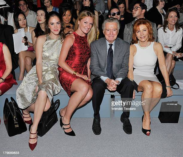 Julia Loomis Sarah Arison Regis Philbin and Joy Philbin attends the Carmen Marc Valvo show during Spring 2014 MercedesBenz Fashion Week at The Stage...