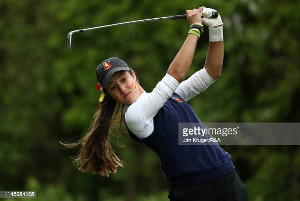 Julia Lopez of Spain in action during the final round of the R&A Girls U16 Amateur Championship at Fulford Golf Club on April 28, 2019 in York,...