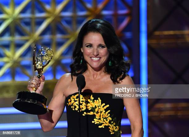 Julia LouisDreyfus accepts Outstanding Lead Actress in a Comedy Series for 'Veep' onstage during the 69th Emmy Awards at the Microsoft Theatre on...