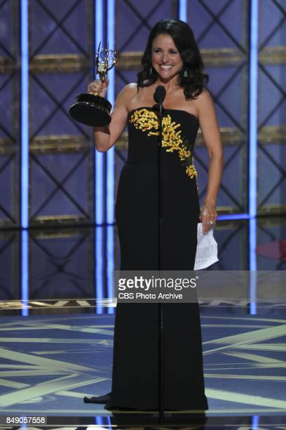 Julia Louis-Dreyfus accepts the Emmy Award for Outstanding Lead Actress in a Comedy Series at the 69TH PRIMETIME EMMY AWARDS, LIVE from the Microsoft...