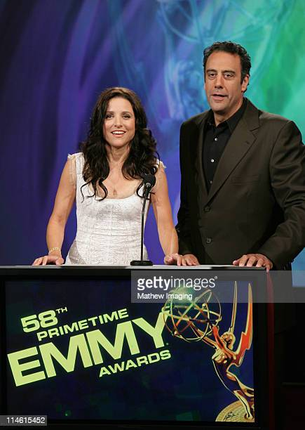 Julia LouisDreyfus and Brad Garrett during 58th Annual Primetime Emmy Nominations Announcement at Leonard H Goldenson Theatre in Los Angeles...