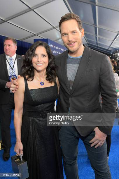Julia LouisDreyfus and Chris Pratt attend the world premiere of Disney and Pixar's ONWARD at the El Capitan Theatre on February 18 2020 in Hollywood...