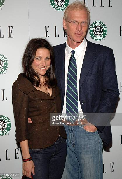 Julia LouisDreyfus and husband Brad Hall during ELLE 1st Green Issue Launch Party Arrivals at Pacific Design Center in West Hollywood California...