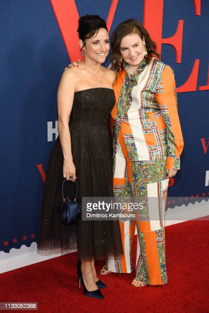 """Julia Louis-Dreyfus and Lena Dunham attend the """"Veep"""" Season 7 premiere at Alice Tully Hall, Lincoln Center on March 26, 2019 in New York City."""