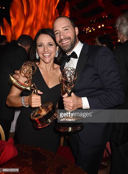 Julia LouisDreyfus and Tony Hale attend HBO's Official 2015 Emmy After Party at The Plaza at the Pacific Design Center on September 20 2015 in Los...