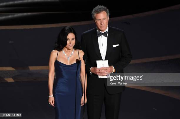 Julia LouisDreyfus and Will Ferrell speak onstage during the 92nd Annual Academy Awards at Dolby Theatre on February 09 2020 in Hollywood California