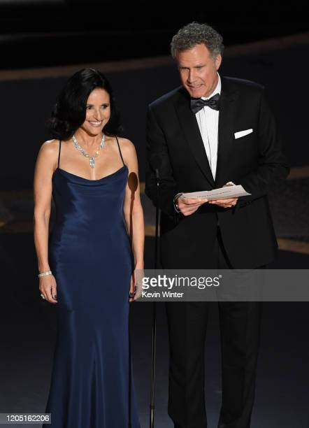 Julia Louis-Dreyfus and Will Ferrell speak onstage during the 92nd Annual Academy Awards at Dolby Theatre on February 09, 2020 in Hollywood,...