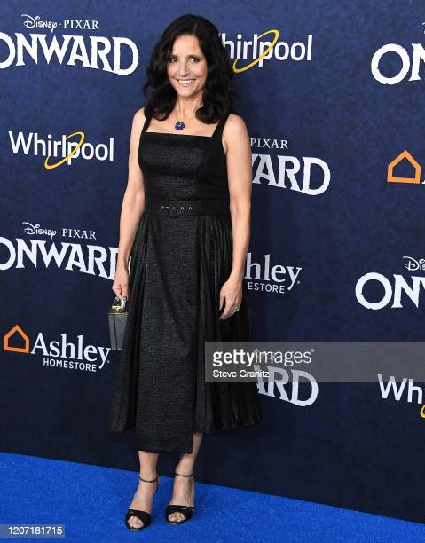 """Julia Louis-Dreyfus arrives at the Premiere Of Disney And Pixar's """"Onward"""" on February 18, 2020 in Hollywood, California."""
