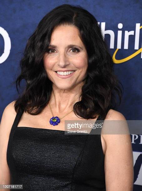 "Julia Louis-Dreyfus arrives at the Premiere Of Disney And Pixar's ""Onward"" on February 18, 2020 in Hollywood, California."