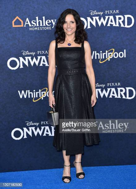 """Julia Louis-Dreyfus attends the premiere of Disney and Pixar's """"Onward"""" on February 18, 2020 in Hollywood, California."""