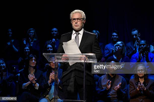 """Julia Louis-Dreyfus"""" Episode 1701 -- Pictured: Beck Bennett as Wolf Blitzer during the """"Brooklyn Democratic Debate Cold Open"""" sketch on April 16,..."""