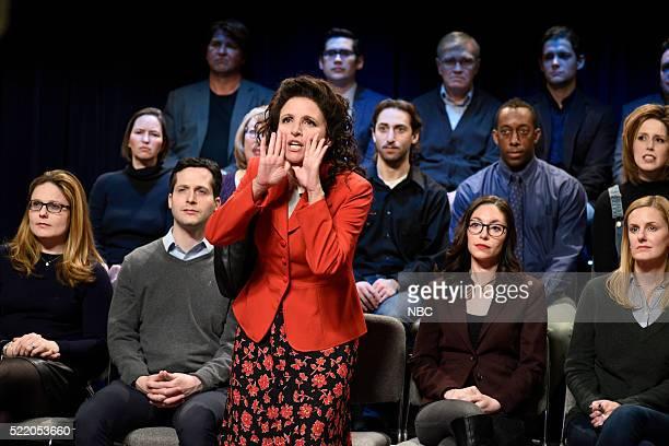 "Julia Louis-Dreyfus"" Episode 1701 -- Pictured: Julia Louis-Dreyfus as Elaine Benes during the ""Brooklyn Democratic Debate Cold Open"" sketch on April..."