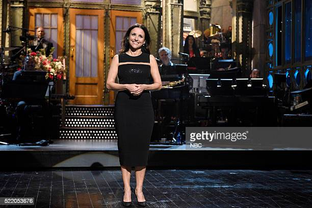 "Julia Louis-Dreyfus"" Episode 1701 -- Pictured: Julia Louis-Dreyfus during the monologue on April 16, 2016 --"