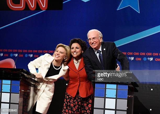"Julia Louis-Dreyfus"" Episode 1701 -- Pictured: Kate McKinnon as Hillary Clinton, Julia Louis-Dreyfus as Elaine Benes, and Larry David as Bernie..."