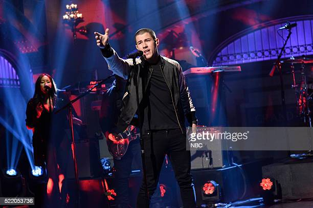 LIVE Julia LouisDreyfus Episode 1701 Pictured Musical guest Nick Jonas performs on April 16 2016