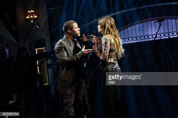 LIVE Julia LouisDreyfus Episode 1701 Pictured Musical guest Nick Jonas performs with Tove Lo on April 16 2016