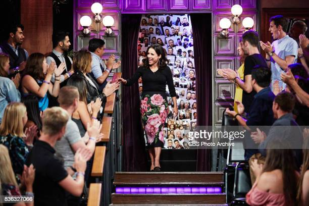 Julia LouisDreyfus greets the audience during 'The Late Late Show with James Corden' Thursday August 17 2017 On The CBS Television Network