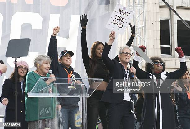 Julia Louis-Dreyfus, Helen Reddy, Gina Belafonte, Laverne Cox, and Jamie Lee Curtis sing onstage at Women's March Los Angeles on January 21, 2017 in...
