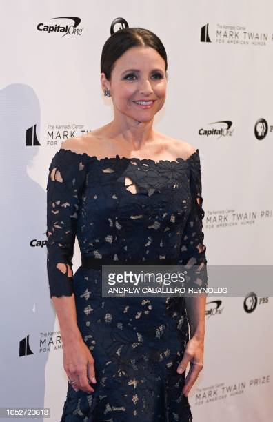 Julia LouisDreyfus poses on the red carpet for the 21st Annual Mark Twain Prize for American Humor at the Kennedy Center in Washington DC on October...