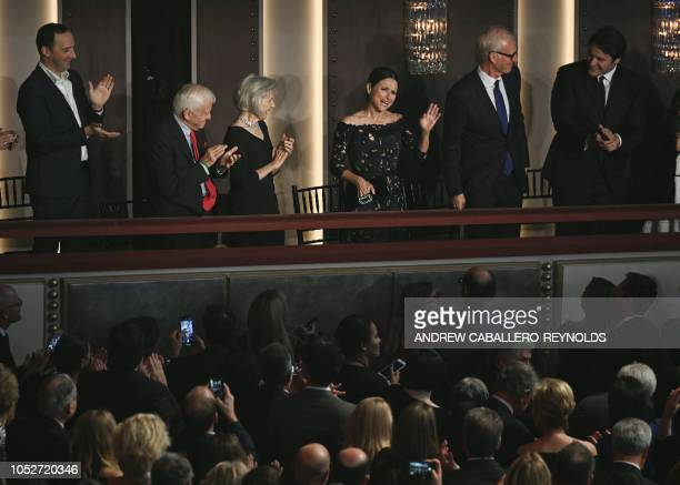 Julia LouisDreyfus reacts as she arrives during the show for the 21st Annual Mark Twain Prize for American Humor at the Kennedy Center in Washington...