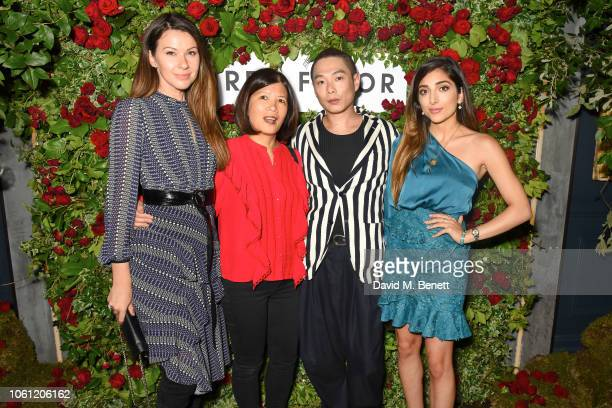 Julia Lundin Yvonne Hoang Ivan Lan and Amelia Liana attend British fashion brand Three Floor's 7th Birthday Party at MNKY HSE on November 13 2018 in...