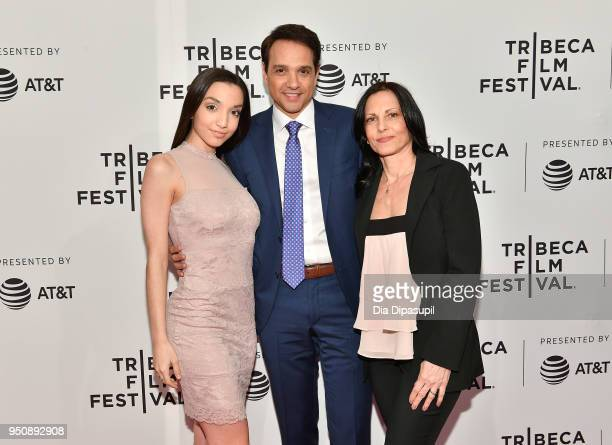Julia Macchio Ralph Macchio and Phyllis Fierro attend the screening of 'Cobra Kai' during the 2018 Tribeca Film Festival at SVA Theatre on April 24...