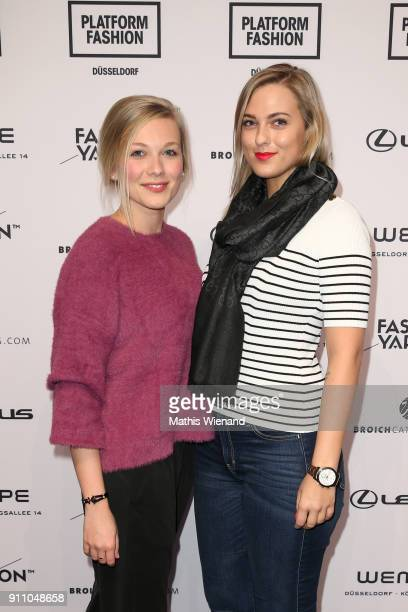 Julia Magula and Ann Kristin Georgi attend the Fashionyard show during Platform Fashion January 2018 at Areal Boehler on January 27 2018 in...
