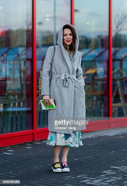 Julia Malik outside Perret Schaad during the MercedesBenz Fashion Week Berlin Autumn/Winter 2016 on January 21 2016 in Berlin Germany