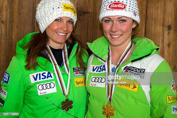 Julia Mancuso and Mikaela Shiffrin of the USA pose with their World Championship Medals on March 15 2013 in Lenzerheide Switzerland