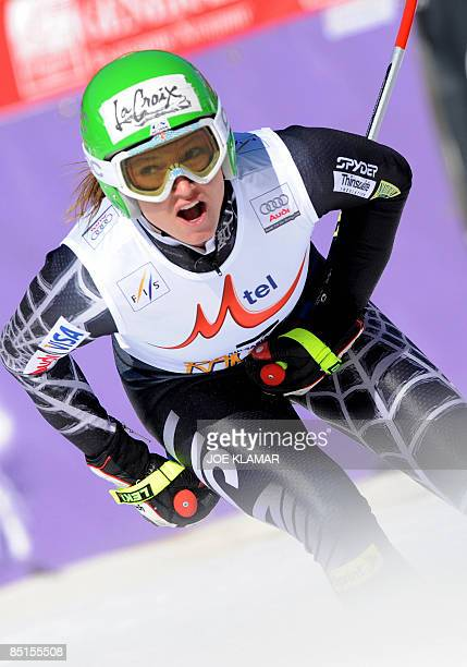Julia Mancuso finishes in the Women's downhil during the FIS Ski World cup in Bansko on February 28, 2009. Austria's Andrea Fischbacher won ahead of...