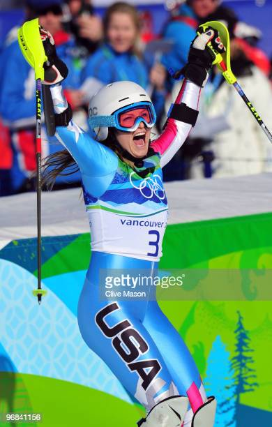 Julia Mancuso of The United States celebrates after crossing the line during the Alpine Skiing Ladies Super Combined Slalom on day 7 of the Vancouver...