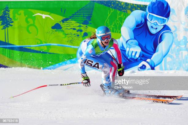 Julia Mancuso of the United States competes during the Alpine Skiing Ladies Downhill on day 6 of the Vancouver 2010 Winter Olympics at Whistler...