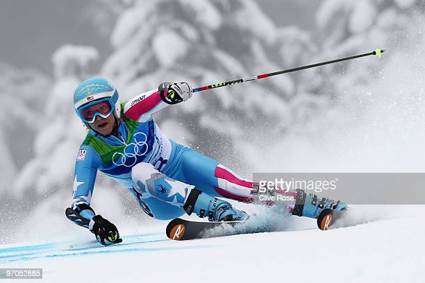 Julia Mancuso of the United States competes during the Ladies Giant Slalom second run on day 14 of the Vancouver 2010 Winter Olympics at Whistler...