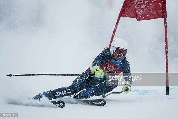 Julia Mancuso of the United States competes in the second run in the Final of the Womens Alpine Skiing Giant Slalom en route to winning the gold...