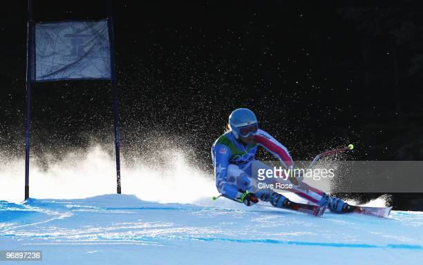 Julia Mancuso of the United States competes in the women's alpine skiing SuperG on day nine of the Vancouver 2010 Winter Olympics at Whistler...