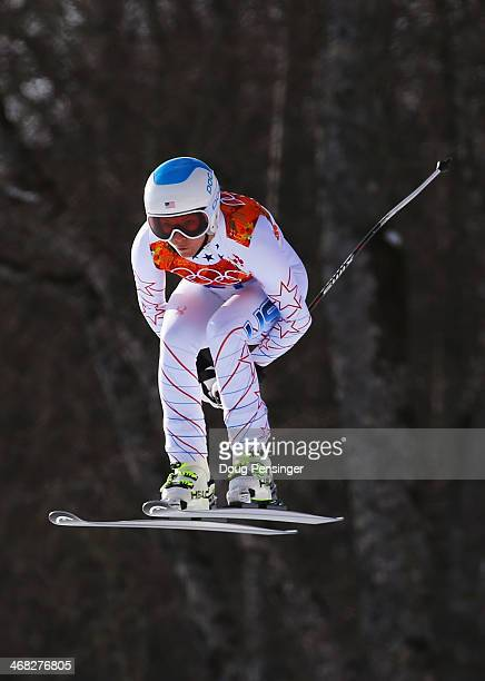 Julia Mancuso of the United States in action during the Alpine Skiing Women's Super Combined Downhill on day 3 of the Sochi 2014 Winter Olympics at...