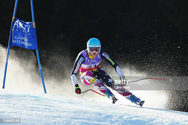 Julia Mancuso of the United States of America competes in the Women's Super G during the Alpine FIS Ski World Championships on the Kandahar course on...