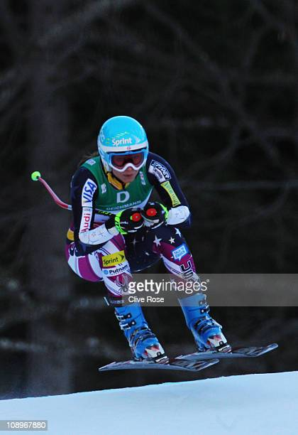 Julia Mancuso of the United States of America skis in the Women's Downhill Training during the Alpine FIS Ski World Championships on the Kandahar...