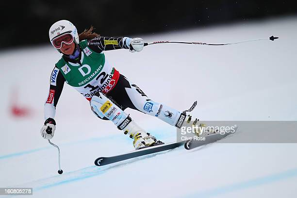 Julia Mancuso of the United States of America skis in the Women's Downhill Training during the Alpine FIS Ski World Championships on February 6 2013...