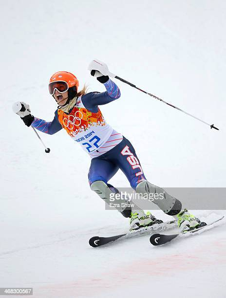 Julia Mancuso of the United States reacts during the Alpine Skiing Women's Super Combined Slalom on day 3 of the Sochi 2014 Winter Olympics at Rosa...