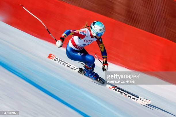 Julia Mancuso of the US competes during the second women's downhill practice at a FIS Alpine Ski World Cup in Jeongseon some 150km east of Seoul that...