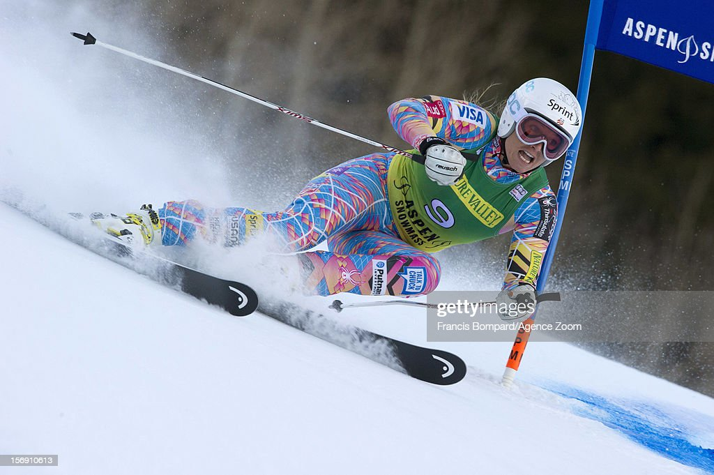 Julia Mancuso of the USA competes during the Audi FIS Alpine Ski World Cup Women's Giant Slalom on November 24, 2012 in Aspen, Colorado.